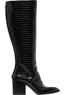 Aeyde Bota Cano Alto Charlie Com Efeito Pele De Cobra - Preto