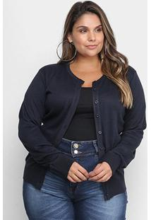 Cardigan City Lady Plus Size Tricot Feminino - Feminino-Marinho