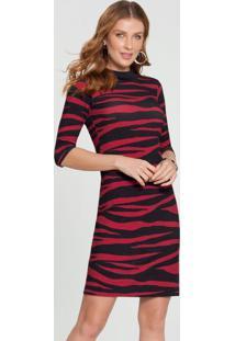 Vestido Malha Canelado Sevilha Vermelho