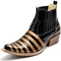 8acb155a0 Botina Bota Country Bico Fino Top Franca Shoes Verniz Preto / Dourado -  Masculino-Preto
