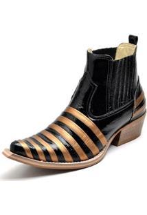 Botina Bota Country Bico Fino Top Franca Shoes Verniz Preto / Dourado - Masculino-Preto+Dourado