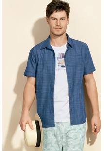 Camisa Masculina Slim Em Tecido De Algodão Com Fio Tinto
