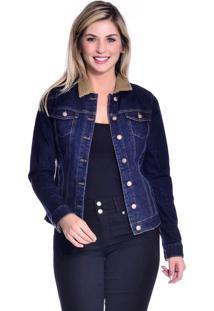Jaqueta Jeans Loony Com Pelo Azul