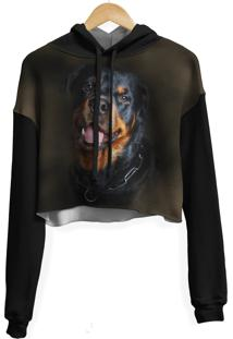 Blusa Cropped Moletom Feminina Over Fame Rottweiler Md02 - Kanui
