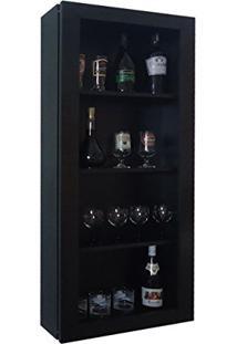 Bar Adega Para Vinhos E Bebidas Cristaleira Suspenso De Parede Para Sala Estar Ou Jantar Preto