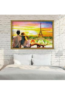 Quadro Love Decor Com Moldura Amour Parisien Dourado - Médio