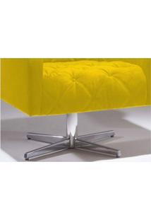 Poltrona Decorativa Giratória Com Base Estrela Paris Suede Amarelo