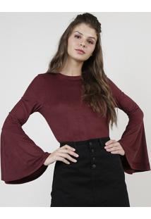 Blusa Feminina Em Suede Manga Sino Decote Redondo Vinho
