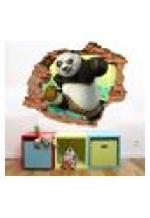 Adesivo De Parede Buraco Falso 3D Kung Fu Panda - M 61X75Cm