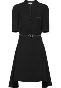 Prada Vestido Com Cinto E Patch De Logo - Preto