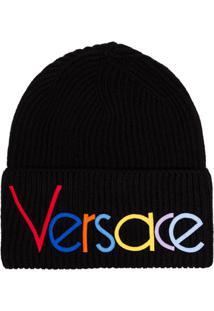 1ddde72118b83 ... Versace Gorro Com Logo Bordado Preto