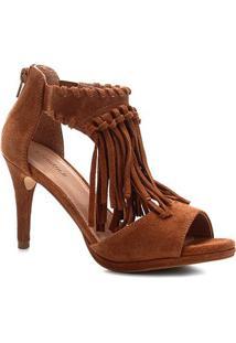 Sandália Shoestock Camurça Franjas Salto Fino Feminina - Feminino-Caramelo
