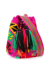 Folkloore Colombian Wayuu Small Mochila - Rosa