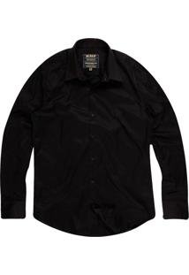 Camisa Slim Masculina Com Elastano Preto