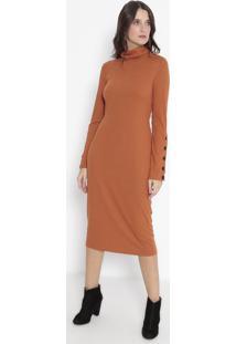 Vestido Mídi Canelado - Laranja - Wool Linewool Line