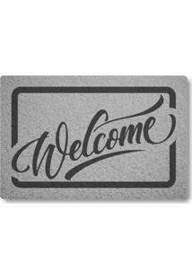 Tapete Capacho Welcome - Prata