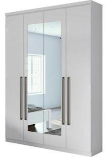 Guarda Roupa Solteiro C/ Espelho 4 Portas 2 Gavetas Alonzo New Mã³Veis Lopas Branco - Branco - Dafiti
