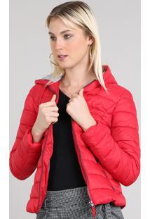 Jaqueta Feminina Puffer Com Capuz Vermelha
