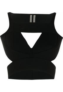 Rick Owens Blusa Cropped Com Recortes Vazados - Preto