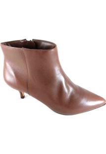Bota Cano Curto Sapatoweb Salto Couro Feminina - Feminino-Marrom