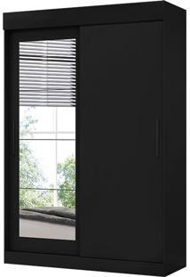 Guarda-Roupa Solteiro 2 Portas C/ Espelho Bolt – Móveis Albatroz - Preto