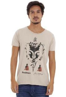 Camiseta Joss Estonada Corte À Fio Masculina - Masculino-Bege