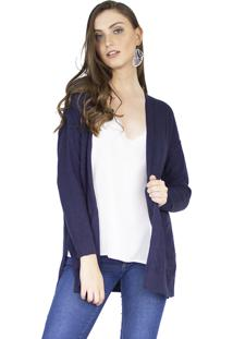 Cardigan The Style Box Com Bolsos Azul Escuro