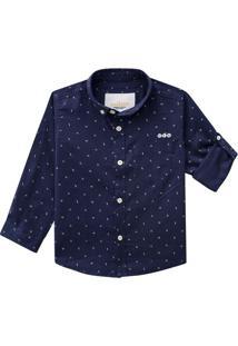 Camisa Geomã©Trica Com Bolso- Azul Marinho & Brancamilon