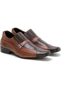Sapato Social Couro Ded Calçados Fivela Masculino - Masculino-Café