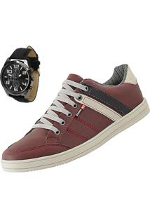 Sapatênis Cr Shoes Leve E Baixo Vermelho Com Relógio