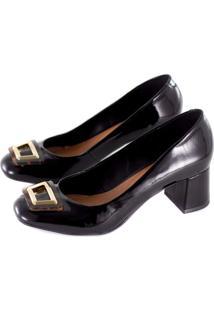 Sapato Alta Villa Shoes Bico Redondo Preto