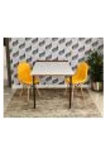 Conjunto De Mesa 1,40 Branco/Noronha + 2 Cadeiras Botonê - Amarela