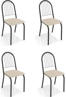 Conjunto Com 4 Cadeiras De Cozinha Noruega Preto E Nude