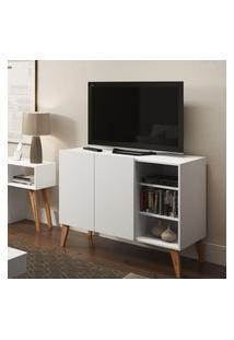 Rack Para Tv Leaves Be Mobiliário 2 Portas 3 Prateleiras Branco Fosco
