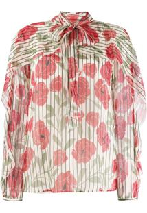 Red Valentino Poppy Print Silk Blouse - Neutro