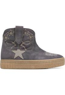 Golden Goose Deluxe Brand Ankle Boot De Couro E Camurça Com Bordado - Cinza