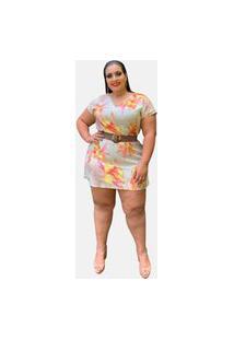 Vestido Curto Plus Size Social Casual Tnm Collection Floral Moda Primavera Verão