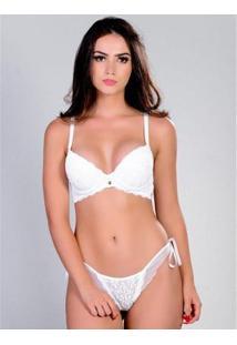 Conjunto Chic22 Yasmin Lingerie Feminino - Feminino-Branco