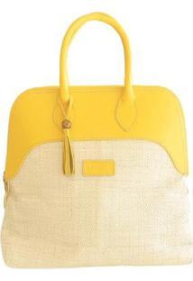 Bolsa De Palha & Couro Artestore Modelo De Mão - Feminino-Amarelo