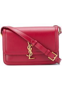 Saint Laurent Bolsa Transversal Com Placa Monogramada - Vermelho