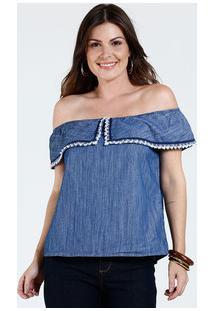 7b3e771c3 ... Blusa Feminina Jeans Ombro A Ombro Babado Marisa