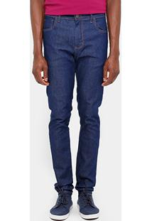 Calça Jeans Skinny Sommer Super Escura Pesponto Contraste Masculina - Masculino