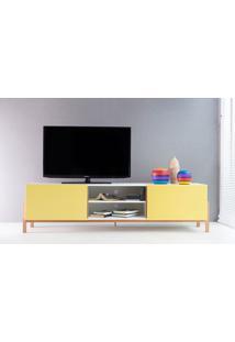 Rack Tv Contemporâneo-Moderno Eric 1800 Mdf Branco Pés Madeira Cor Jatobá 2 Portas Amarela - 186X43,6X48,5 Cm