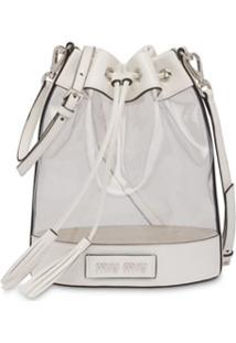 Miu Miu Bolsa Saco Com Logo - Branco