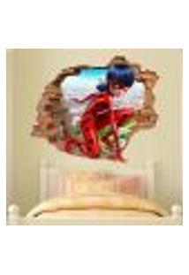 Adesivo De Parede Buraco Falso 3D Infantil Ladybug - P 45X55Cm