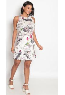 Vestido Floral Com Elástico & Babado- Branco & Rosa-Vip Reserva