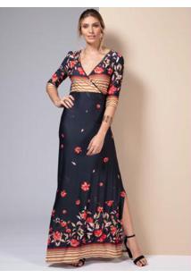 Vestido Longo Floral Preto Com Fendas