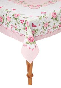 Toalha De Mesa Lepper Retangular Rose 155X250Cm Rosa/Branca