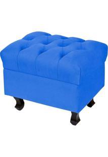 Puff Paris Luis Xv Capitone Tecido Azul Royal Pés Madeira - Lyam Decor