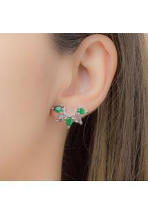 Brinco Ear Cuff Com Gotas Esmeralda E Fumê Banhado Em Ródio